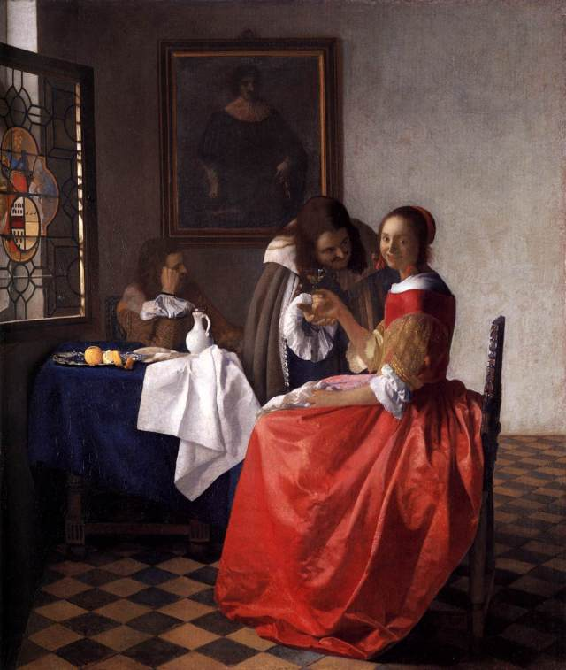 """Johannes Vermeer - A Lady and Two Gentlemen - WGA24639"" by Johannes Vermeer - Web Gallery of Art:   Image  Info about artwork. Licensed under Public Domain via Wikimedia Commons - http://commons.wikimedia.org/wiki/File:Johannes_Vermeer_-_A_Lady_and_Two_Gentlemen_-_WGA24639.jpg#/media/File:Johannes_Vermeer_-_A_Lady_and_Two_Gentlemen_-_WGA24639.jpg"